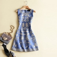 New Arrival Ladies Dress Casual Fashion Spring Women O-Neck Appliques Floral Embroidery Slim Fit Blue Denim Dress Lolita Girls