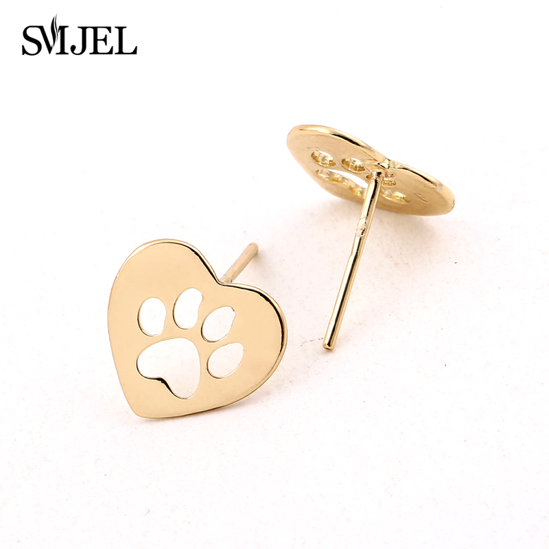 SMJEL New Cute Love Shaped Dog Paw Stadniny Kolczyki Kobiety Small Dog Pet Lover Kolczyk pendientes boucle d'oreille S172