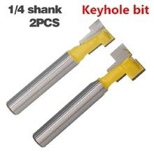 2 ชิ้น/เซ็ต 1/4 นิ้ว Shank T Slot Keyhole ตัดไม้ Router บิตคาร์ไบด์เครื่องตัดสำหรับตัดไม้ Hex Bolt T  Track Slotting เครื่องตัดมิลลิ่ง