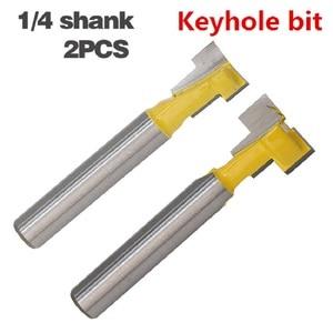 Image 1 - 2 ชิ้น/เซ็ต 1/4 นิ้ว Shank T Slot Keyhole ตัดไม้ Router บิตคาร์ไบด์เครื่องตัดสำหรับตัดไม้ Hex Bolt T  Track Slotting เครื่องตัดมิลลิ่ง