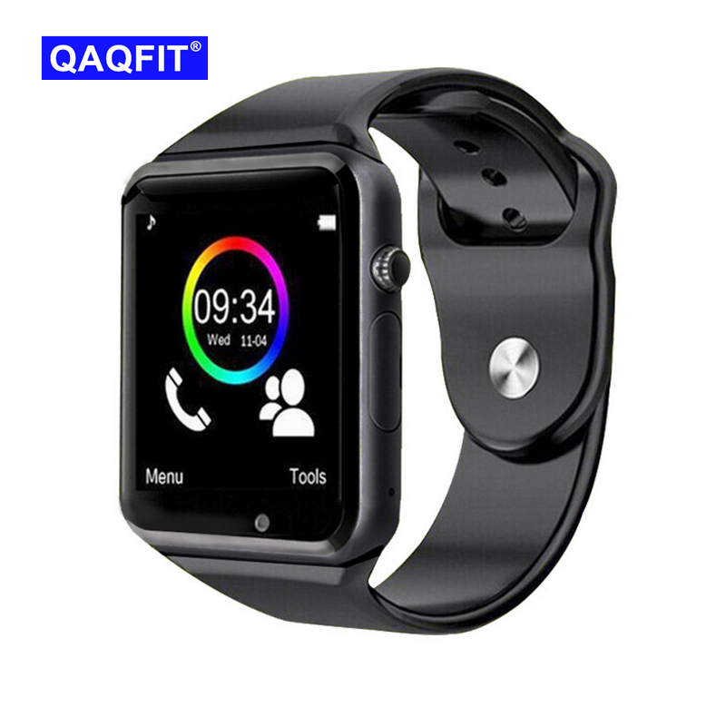 QAQFIT Bluetooth Smart Watch A1 para Apple iPhone IOS Android teléfono muñeca apoyo sincronización reloj inteligente tarjeta Sim PK DZ09 GV18