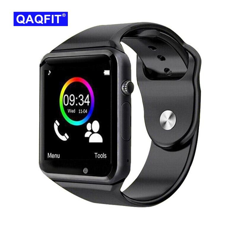 QAQFIT inteligente reloj Bluetooth A1 para Apple iPhone IOS Android teléfono muñeca ropa apoyo sincronización reloj inteligente tarjeta Sim PK DZ09 GV18