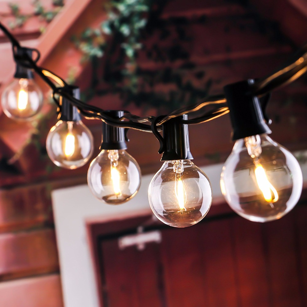 25Ft G40 Globe String Lights with Clear LED Bulbs, Energy Saving  Backyard Patio Lights for Bistro Pergola Tents Market waterproof 9m vintage patio globe string lights black cord clear glass bulbs 30 decorative outdoor garland wedding