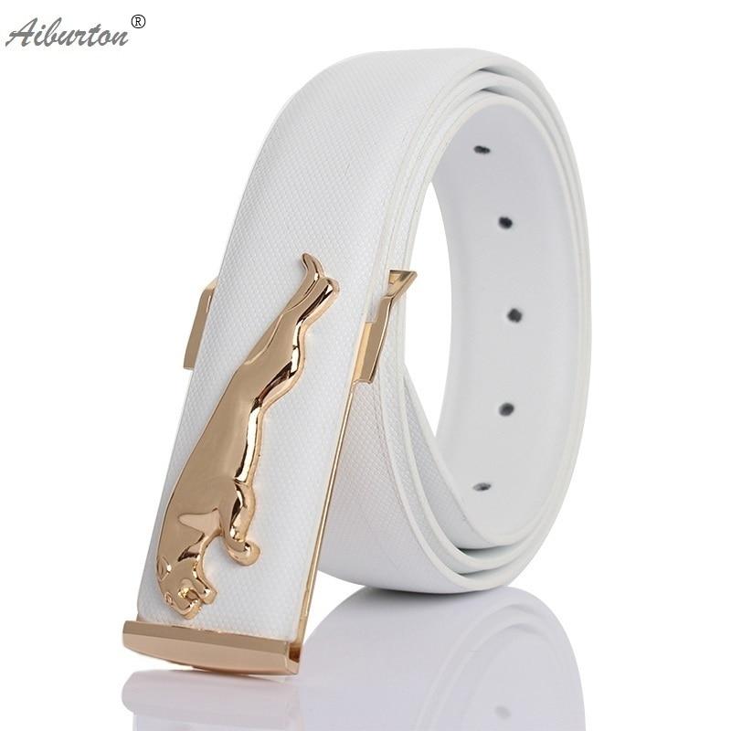 Luxury leather belt man white belts designer belts men ...