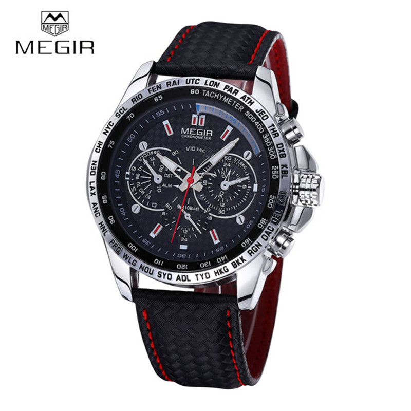 MEGIR Sports Quartz Mens Watches Luxury Quartz watch Clock Leather Strap Male Wristwatch Relogio Masculino