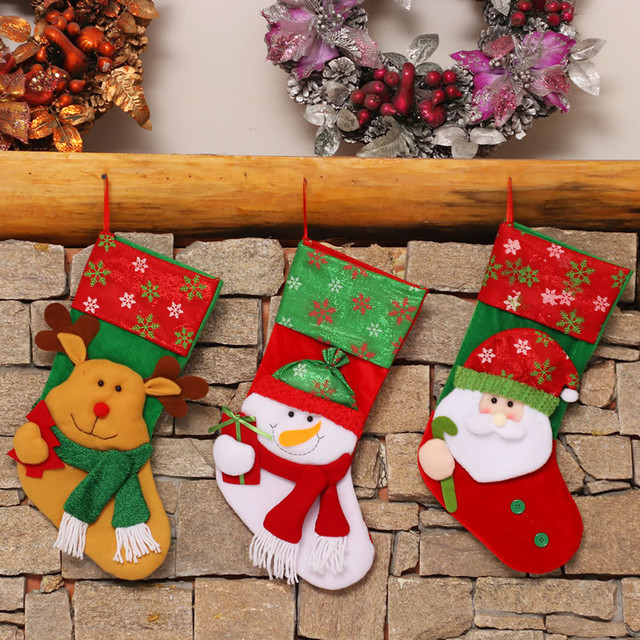 christmas stocking holder santa claus sock christmas tree hanging ornament gift candy bags xmas festival decoration