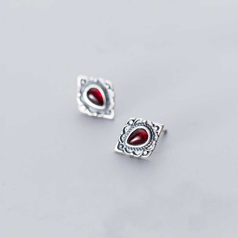MloveAcc 925 Sterling Silver Vintage Stud Earrings Jewelry for Women Wholesale Retro Antique Silver Red Stone Earrings