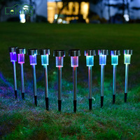 10pcs Stainless Steel 100 Solar Power Lawn Light Landscape Spotlight For Garden Ornament Party Yard Path