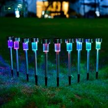 10pcs Stainless steel 100% Solar Power Lawn Light Landscape Spotlight  For Garden Ornament Party Yard Path Park Outdoor Decor