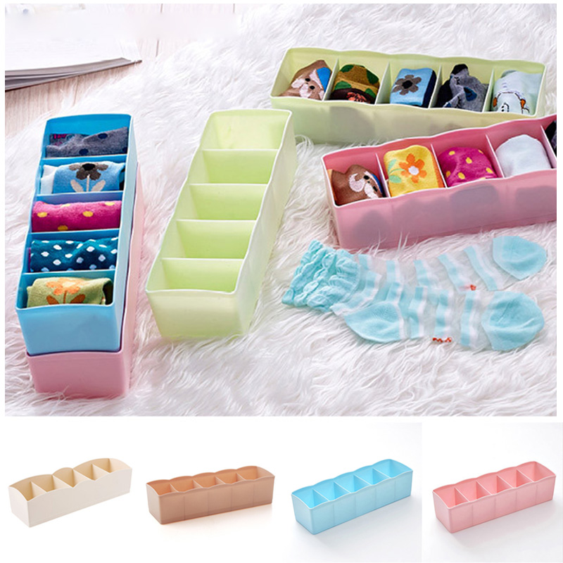 2018 Hot Sales 5 Cells Organizer Tie Bra Socks Drawer Cosmetic Container Divider Storage Boxes