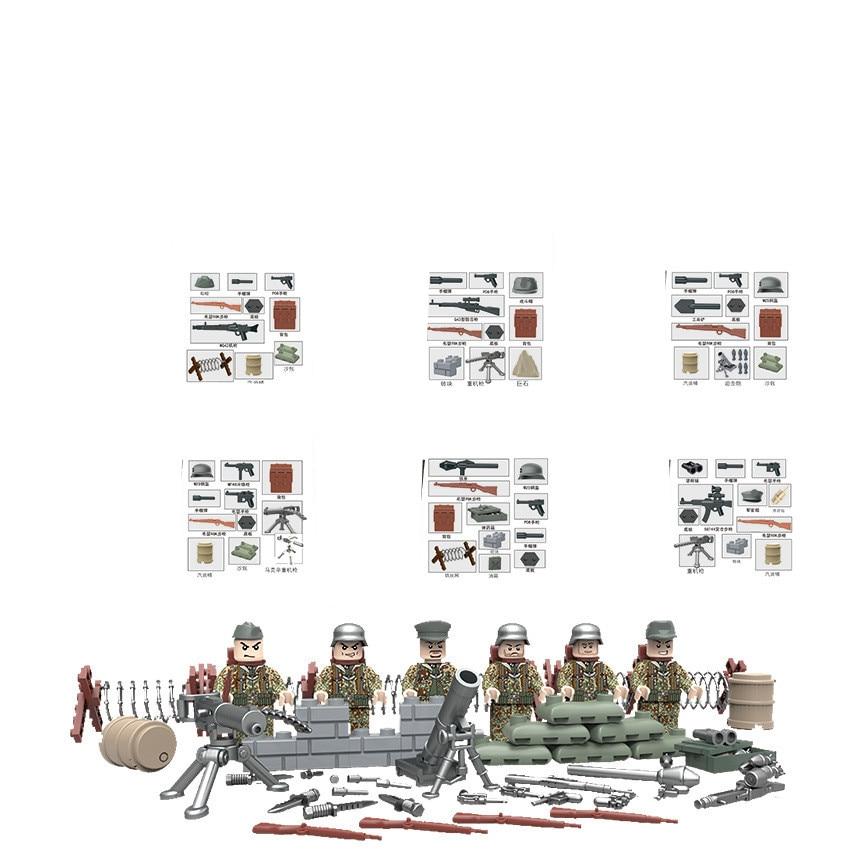 6pcs German Army World War 2 Gun Weapon Military SWAT CS Navy Soldier Building Blocks Figures Boy Educational Toys Children Gift enlighten military educational building blocks toys for children gifts army truck aircraft dog base gun world war hero weapon