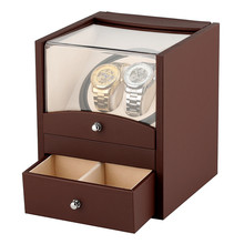 2+2 Automatic Watch Winding Box Luxury Brown Motor Case Double Shaker Holder Storage Case Winder New Arrival 2019 with Plug цена