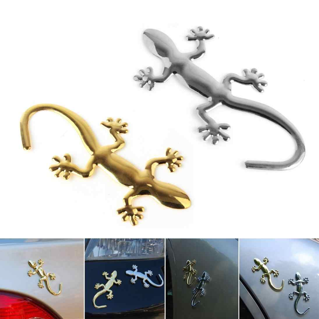 8.75x4.25CM Wholesale 3D Metal Gecko funny Car Stickers Decals Car Emblem Bedges Car Styling Bumper Stickers