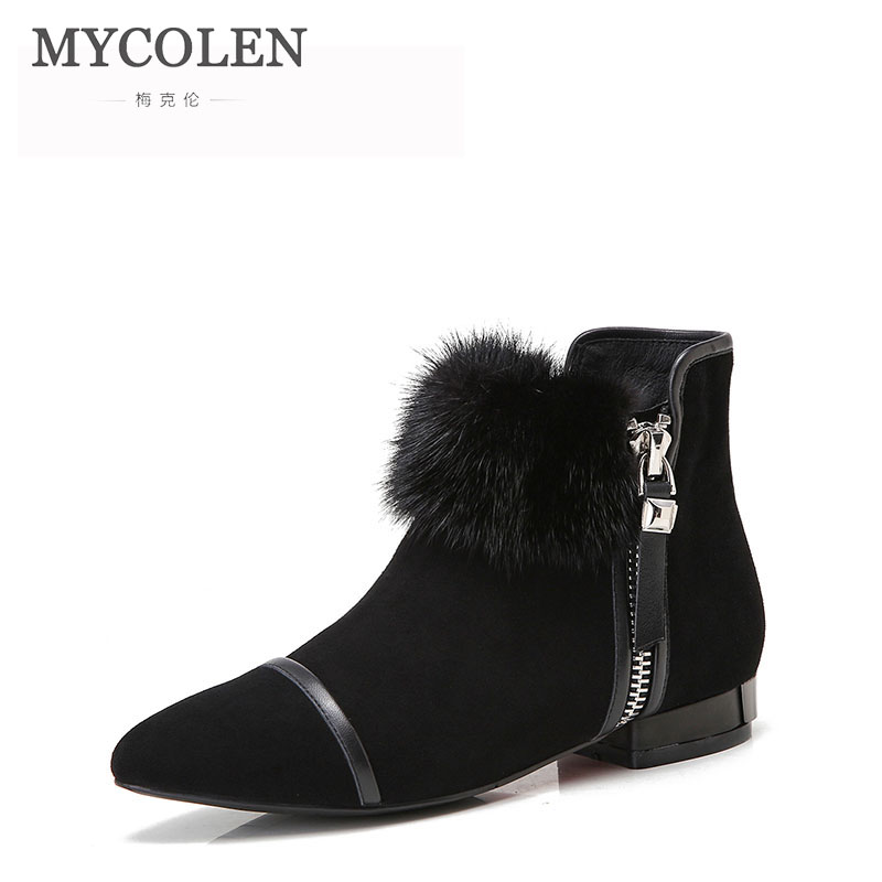 цены на MYCOLEN Comfort Chelsea Boots Women Handmade Genuine Leather Winter Suede Boot Pointed Toe Ankle Lady Shoes Zapatilla Mujer