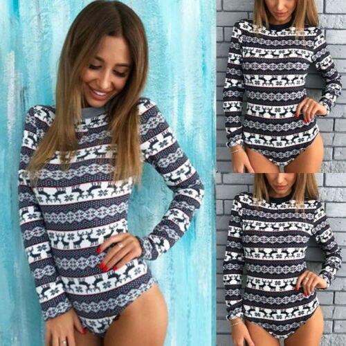 ac400789fc 2018 Casual Cotton Women Long Sleeve Bodysuit Stretch Ladies Leotard Body  Tops T shirt Jumpsuit Size S-XL