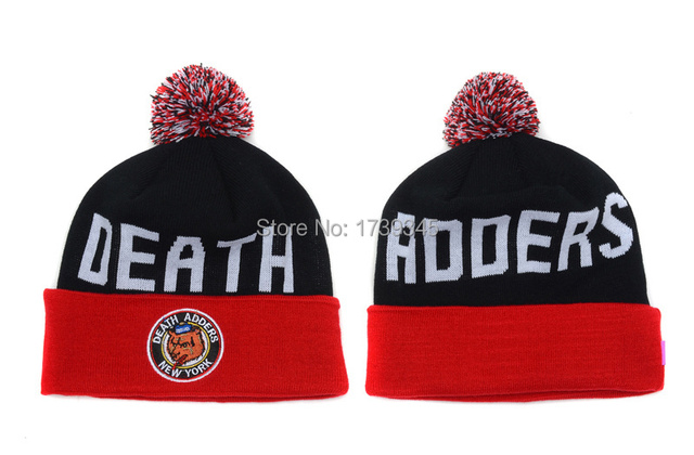 65d8373693a DEATH ADDERS NEW YORK Knit Beanies hats black red Brand Designer mens  womens winter knitted yundon caps Skullies Free shipping