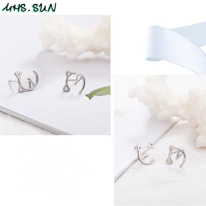 9,HN009,$1.85,10x9mm, Women 925 sterling silver earrings cute hollow cat design S925 silver stud earrings for girls gift party jewelry  (3)