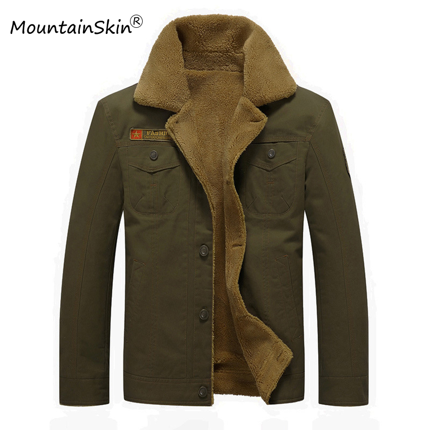 Mountainskin 2017 New Men s Winter Jackets Solid Thick Warm Parkas Male Thermal Fleece Casual Outerwears