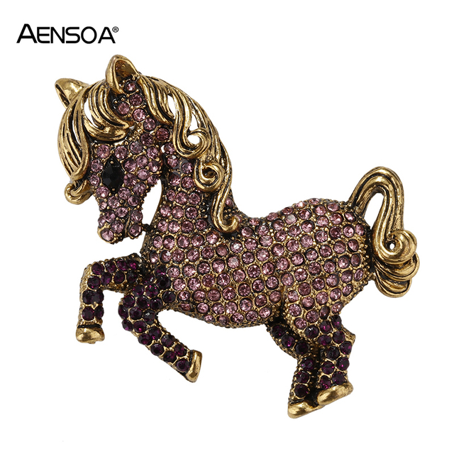 5db44ea2bfb3d US $2.89 35% OFF|AENSOA Czech Crystal Horse Brooches For Women Men Vintage  Gold Silver Animal Brooch Pins Sweater Scarf Clip Broche Accessories-in ...