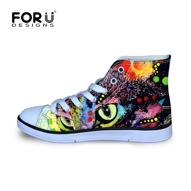 Owl Eyes Animal Pug Design Printed Canvas Shoes for Boys Student Funny Charater Cartoon Style Lace Up High Top Sneaker EUR 29-34