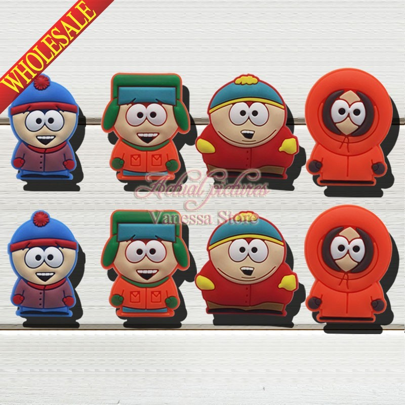 Retail charms 8pcs/lot South Park shoes decoration shoe accessories shoe charms fit wristbands kids christmas toys & gift free shipping 8pcs lot mickey shoe decoration shoe charms shoe accessories for wristbands kids school gifts