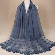 Популярный женский Шелковый платок с разрезом, Круглый Одноцветный ДЛИННЫЙ КРУЖЕВНОЙ мусульманский хиджаб