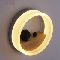 Modern Art Creative Led Wall Sconce Study Lamp Wood Led Wall Lamp Bedside Lamp Round Style