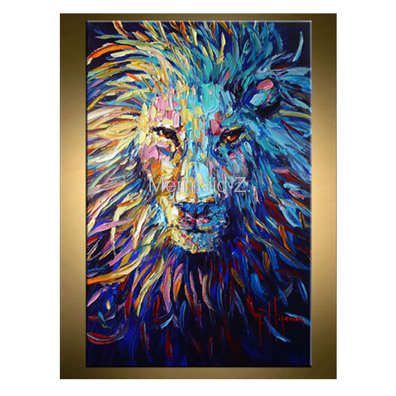 Lion Painting Abstract Art Animal Original Oil Canvas Palette Knife Heavy Textured Technique