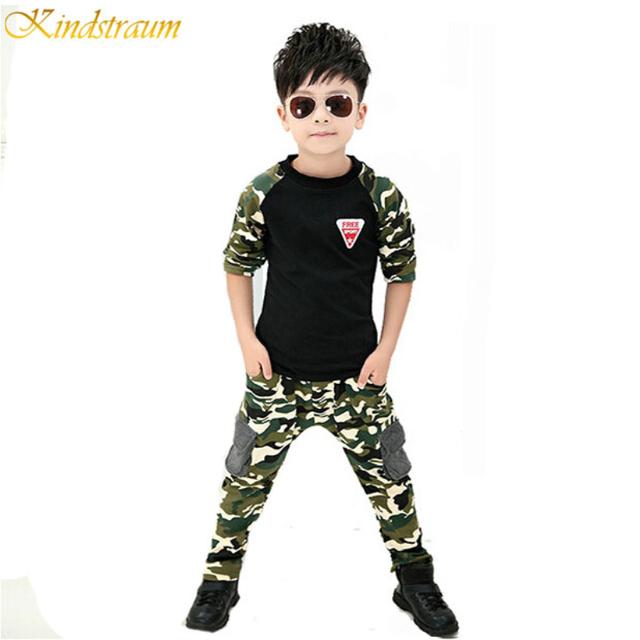 2015 Nova Camuflagem Kids Clothing Set para Boys & Girls Primavera & Outono Algodão Camo Esportes Dos Meninos Definir Meninas Ativos Conjuntos de roupas, YC018