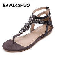 2015 Summer Style Women Shoes Snake Skin Straps Black Gem Decorative Flat Sandals Roman Thong Sandals