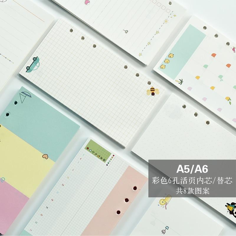 40 fletë / paketë A5 A6 Fletore me ngjyra Spirale Faqet e brendshme 6 vrima Diario Binder Paper for Filofax Planner Refills letre filler