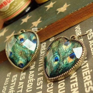 Crystal Heart Bronze Peacock Earrings