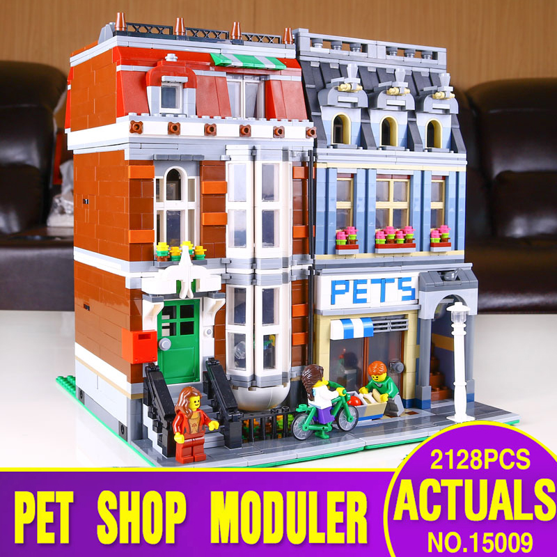 DHL Ship From Spain 15009 City Building Series The 10218 Pet Shop Supermarket Model City Street