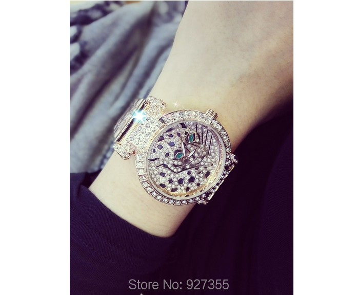Luxury Women Rhinestone Watches Lady Diamond Dress Watch Stainless Steel Band Leopard Bracelet Wristwatch ladies Crystal Watch 3