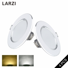 LARZI 4 Pcs LED Downlight 3W 5W 7W 9W 12W Round Recessed Lamp 220V 230V 240V Led Bulb Bedroom Kitchen Indoor Spot Lighting