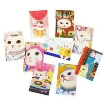10 unids/lote nueva moda lindo gatos tarjetas postales grupo de dibujos animados de Navidad, tarjeta de cumpleaños, tarjeta de felicitación de Año Nuevo tarjeta postal regalo