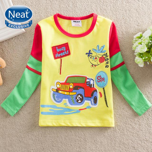 NEAT Atacado Novo 2016 frete grátis roupa do bebé bonito carro camiseta meninos roupas crianças impressão 100% T-shirt de algodão L885 #