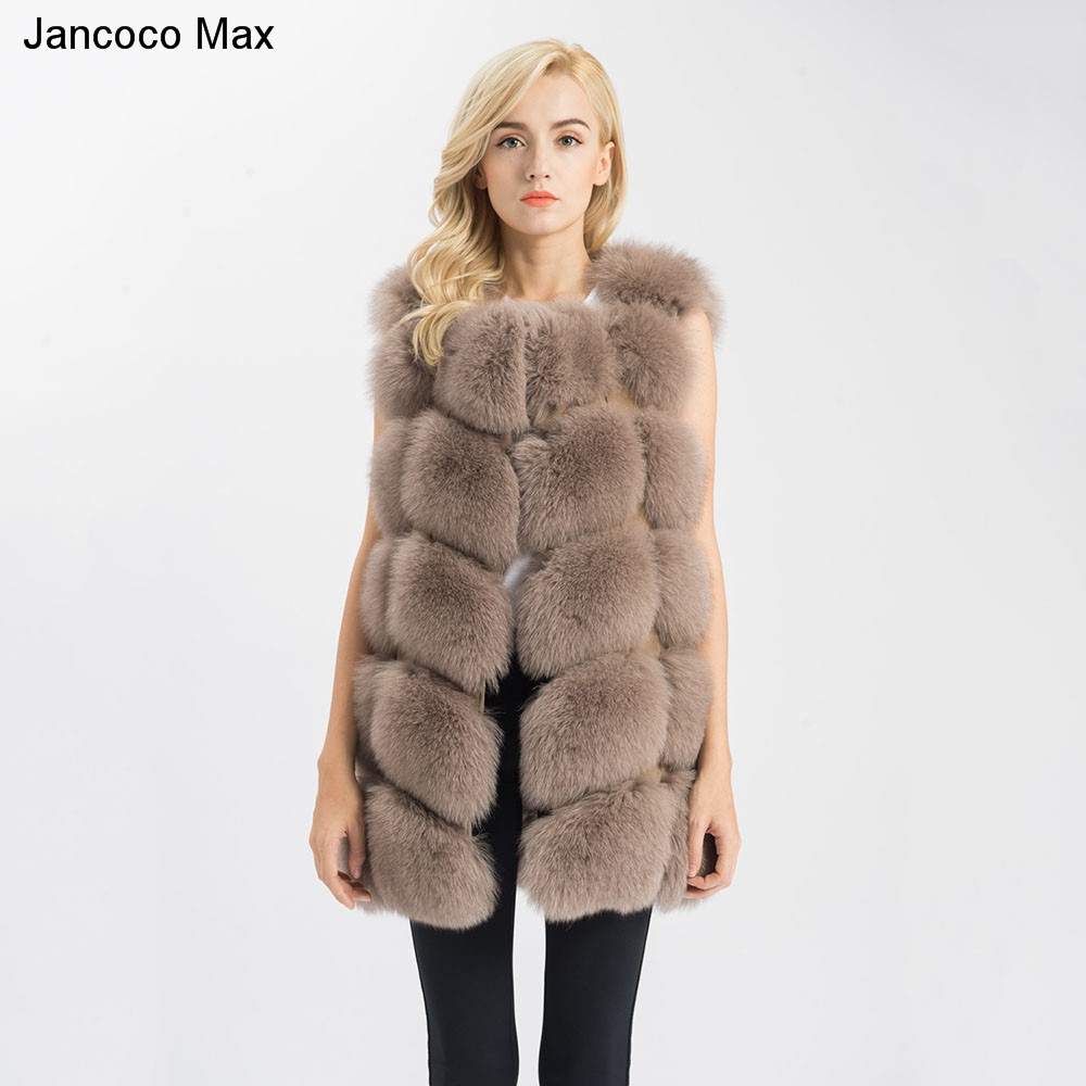 Jancoco Max 2018 New Arrival Real Fox Fur Gilets Women's Winter Warm Fur Vest Fashion Style Waistcoat High Quality S1431