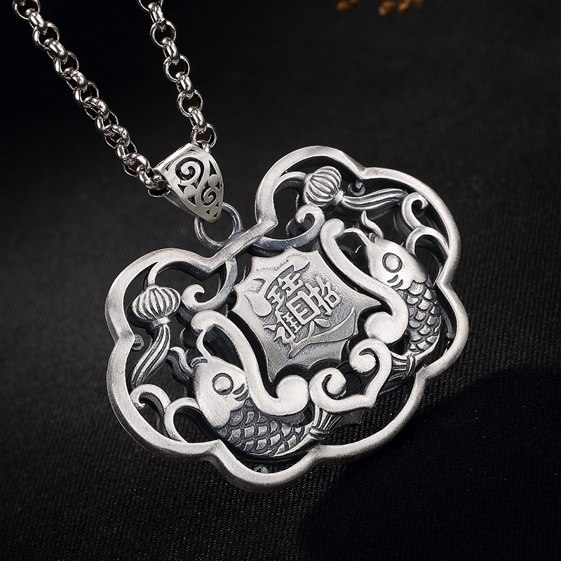 990 Sterling Silver Thai Silver Antique Fish Pendant Locket For Ladies Hollow Pisces Lucky Fortune Jewelry 990 Sterling Silver Thai Silver Antique Fish Pendant Locket For Ladies Hollow Pisces Lucky Fortune Jewelry