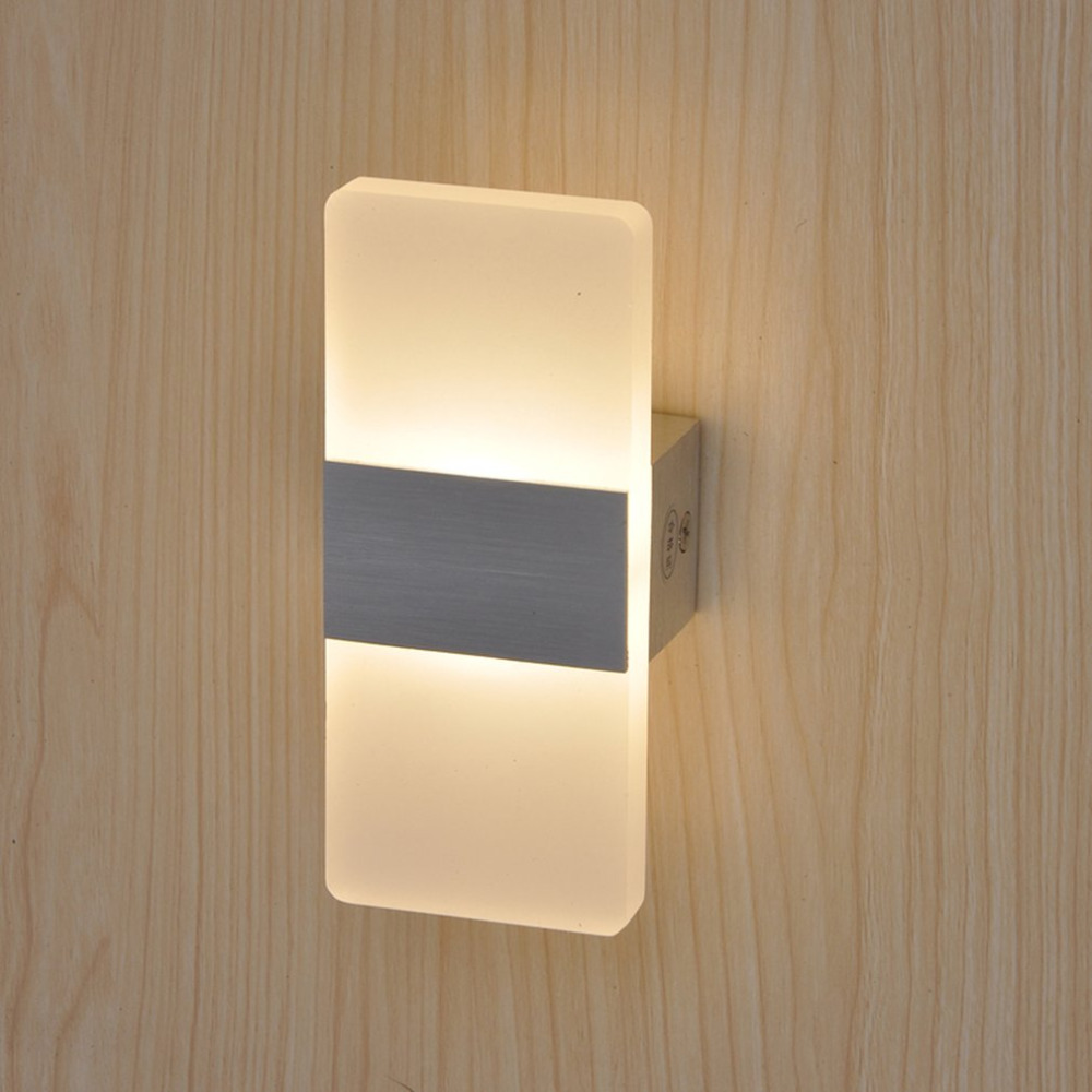 Modern Style 3W Unique LED Wall Lamp Bedroom Bedside Lamp Rectangle Shape Acrylic Shell Integrated Light Rack Warm White Light