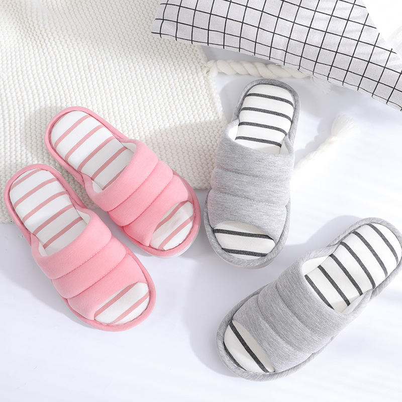 Autumn Winter Caterpillar Couple Female Linen Slippers Open Toe Home Indoor Slides Male Non-Slip Cotton Slippers