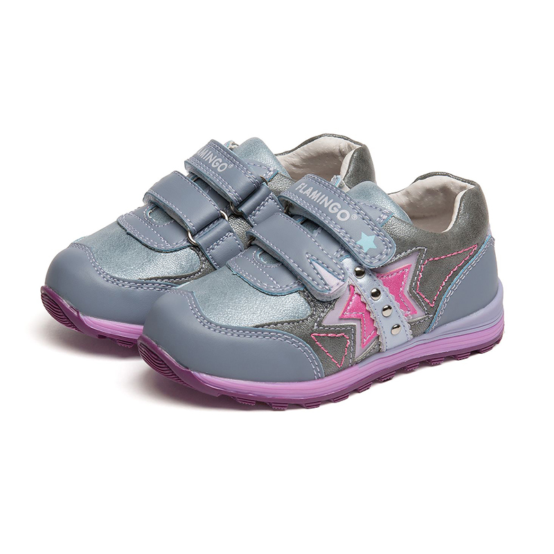FLAMINGO Spring Leather Breathable Orthotic Arch Support Hook& Loop Outdoor Size 22-27 Kids Casual Shoes for Girl 71P-XY-0111 flamingo print spring genuine leather breathable hook