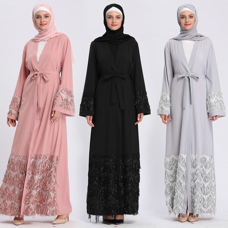 Kaftan Abaya Sequined Muslim Hijab Dress Jilbab Qatar UAE Robe Dubai Caftan Marocain Abayas For Women Turkish Islamic Clothing