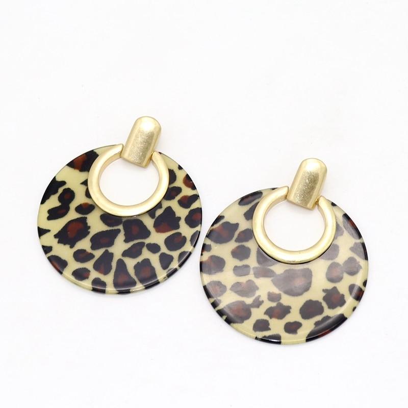 ZWPON 2019 Round Resin Leopard Statement Earrings Large Fashion Geometric Disc Earrings for Women Jewelry Wholesale in Drop Earrings from Jewelry Accessories