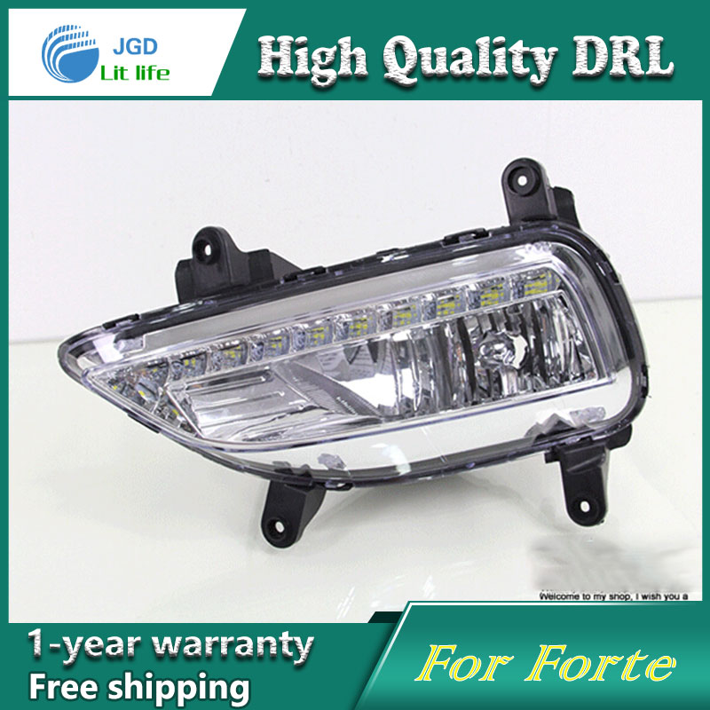 Free shipping !12V 6000k LED DRL Daytime running light case for KIA Forte 2014 fog lamp frame Fog light Car styling цена