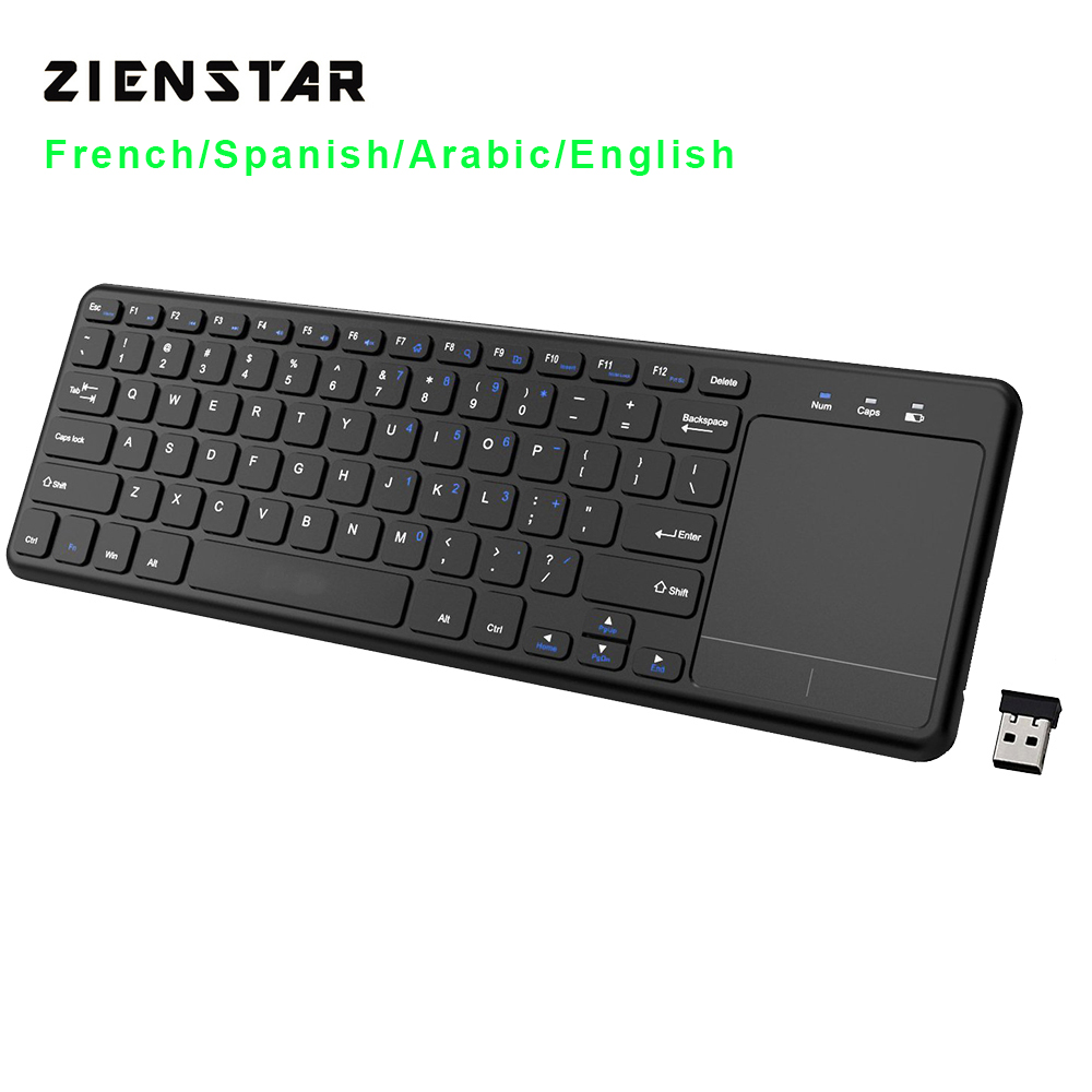 Zienstar 2.4G Multimedia draadloos toetsenbord met touchpad voor Windows pc, laptop, ios pad, Smart TV, HTPC IPTV, Android Box