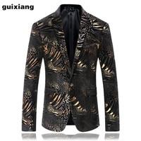 2017 new arrival high quality Single button velvet golden casual suits men Business blazers jacket Men's fashion blazer