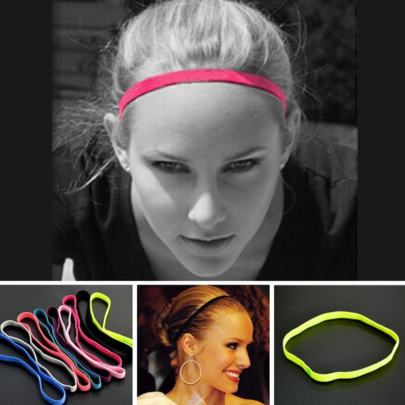 9c72bb75d 2 piezas nuevas mujeres hombres Sweatband de fútbol Yoga Color puro cabello  fino bandas antideslizante de