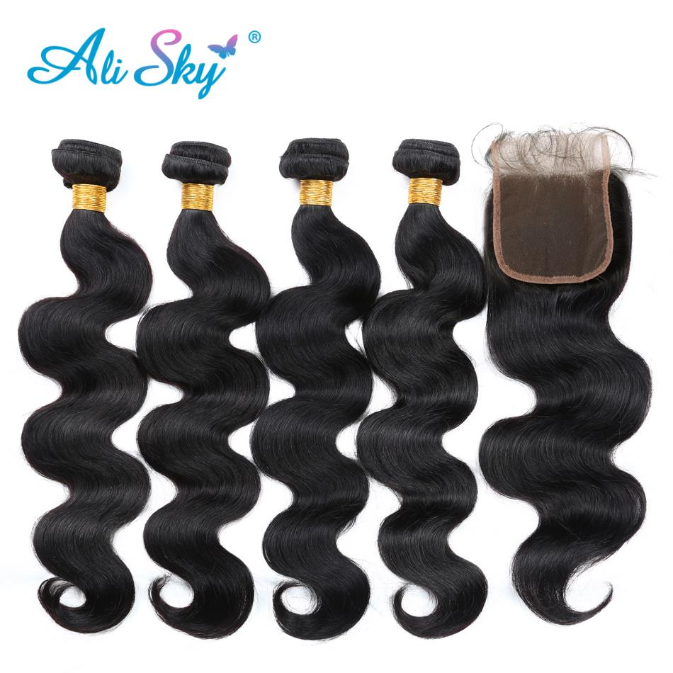 Ali sky Pre-colored nonremy Hair Bundles With Closure Indian 100% human Hair Body wave 4 Bundles With Lace Closure NO shedding