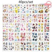 40 sztuk/zestaw wodoodporna tymczasowa naklejka tatuaż Cute Cartoon kolorowe fałszywy tatuaż dla dzieci kobiety Tatouage Temporaire